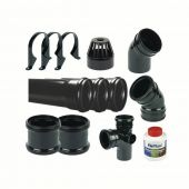 Ring Seal Soil Stack Complete Kit - With Offsets - 110mm Black